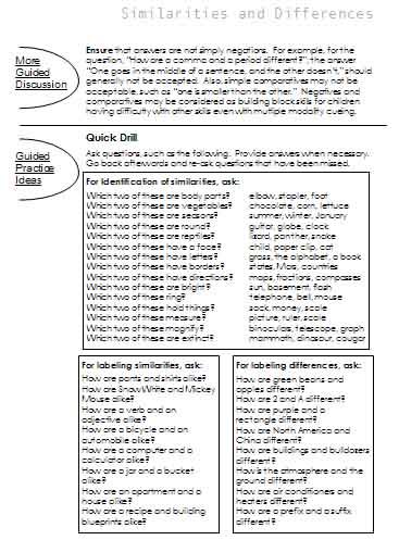 Similarities and Differences | Free Language Stuff