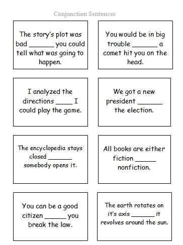 Conjunction Sentence Cards | Free Language Stuff