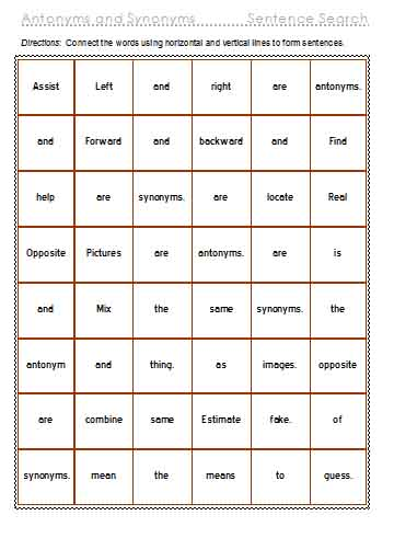 Antonyms And Synonyms Free Language Stuff