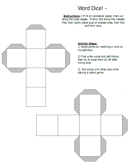 8 sided dice printable template