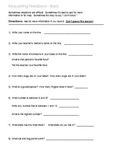 Printables Following Directions Worksheet Middle School following directions worksheets activities goals and more basic activities