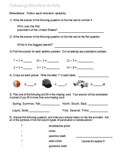 math worksheet : following directions  worksheets activities goals and more  : Following Directions Worksheets Kindergarten