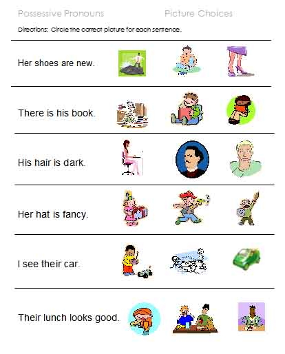 Subject Pronoun Pix Pronoun Blanks Possessive Choices Possessive Pix ...
