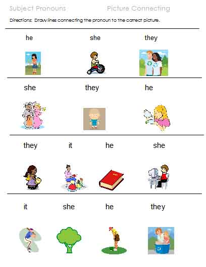 Subject Pronoun Pix Pronoun Blanks Possessive Choices Possessive Pix ...