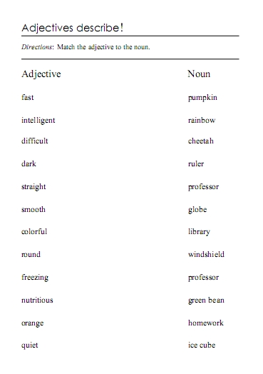 Printables Adjective For Elementary School adjectives word lists activities and worksheets free worksheets