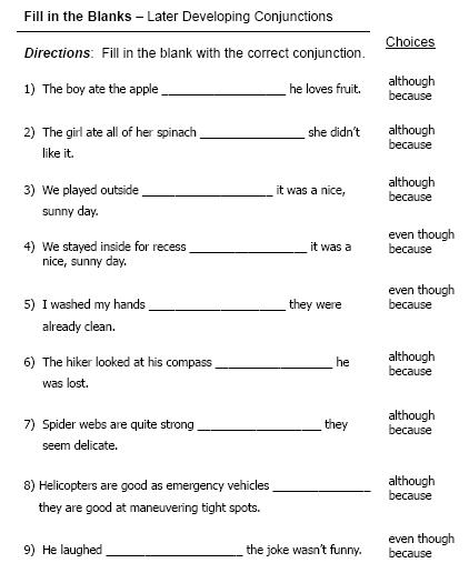 Printables Conjunction Worksheets conjunctions free language stuff later developing worksheets and activities