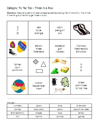 Printables Aphasia Therapy Worksheets categories word lists activities worksheets and more free category tic tac toes grids