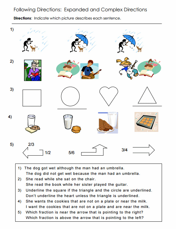 Following Directions Worksheets Activities Goals and More – Directions Worksheet