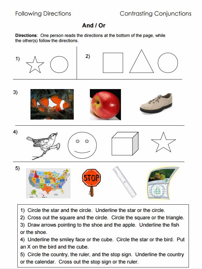 Printable Worksheets conjunctions worksheets for kids : Following Directions – Worksheets, Activities, Goals, and More ...