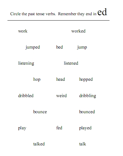 worksheet: PAST TENSE WITH REGULAR VERBS