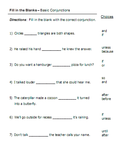 Printables Conjunctions Worksheet conjunctions free language stuff other worksheets and activities basic
