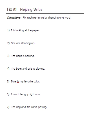 Linking Verbs List For Kids Helping verbs word lists,