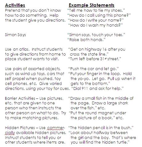 Following Written Directions Worksheets