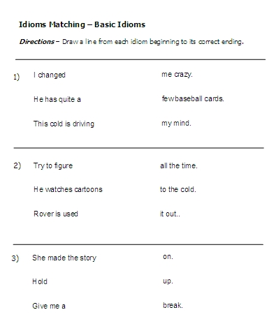 Printables Idiom Worksheets idioms word lists worksheets activities and more free idiom basic
