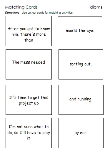 Idioms Word Lists Worksheets Activities And More Free