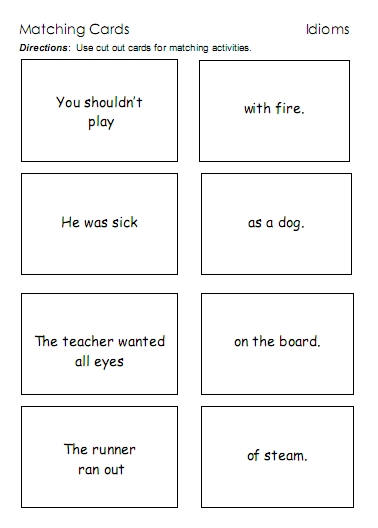 Worksheet Idiom Worksheets idioms word lists worksheets activities and more free idiom matching cards