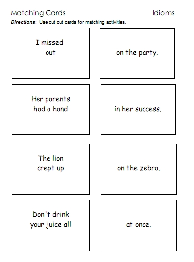 Idioms u2013 word lists, worksheets, activities, and more ...