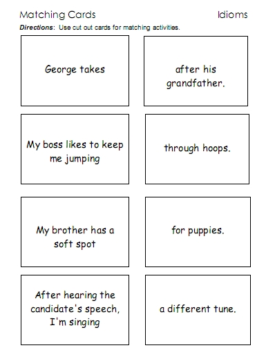 Idioms Word Lists Worksheets Activities And More