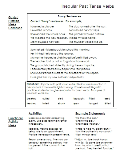 All Worksheets past and present tense worksheets ks2 : Irregular Past Tense Verbs – word lists, worksheets, activities ...