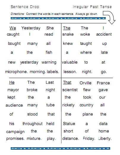 Irregular Past Tense Verbs – word lists, worksheets, activities ...