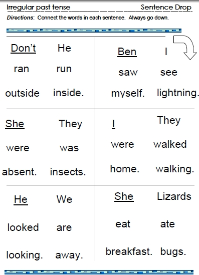 Irregular Past Tense Verbs Word Lists Worksheets Activities