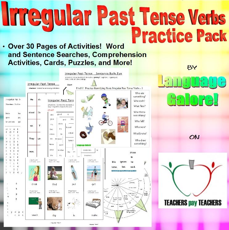 Irregular Past Tense Verbs Word Lists Worksheets Activities