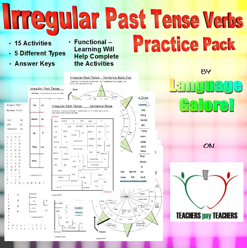 Irregular Past Tense Verbs Word Lists Worksheets