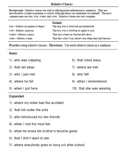 Printables Clauses And Phrases Worksheets compound and complex sentences free language stuff 1 relative clause id basic doc pdf 2 expanded 3 4 relative
