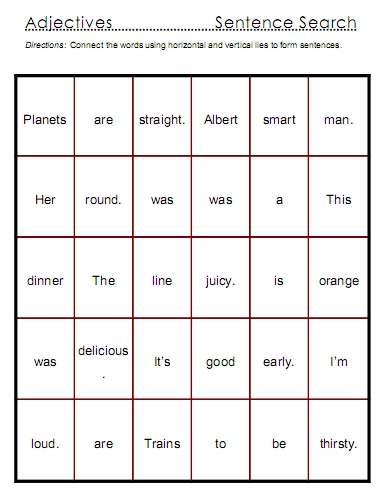 Adjectives Word Lists Activities And Worksheets Free