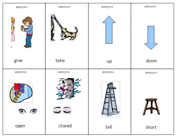 Worksheets Examples Of Antonyms antonyms and synonyms word lists activities worksheets antonym contrast cards