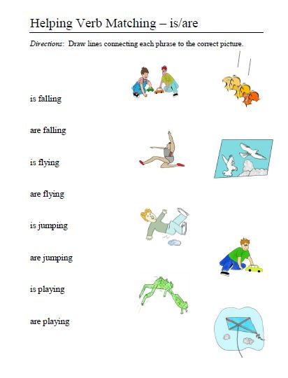 Worksheets Helping Verbs Worksheets helping verbs word lists activities worksheets and more 10 verb matching is are