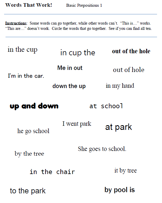 Prepositions – Preposition Worksheets